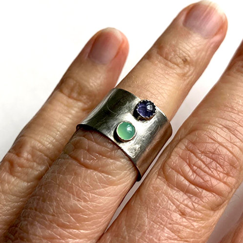 Sterling Silver Textured Wide Band Rings with gemstones