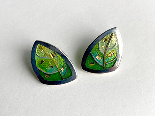 Leaf Post Earrings with 24K gold accents