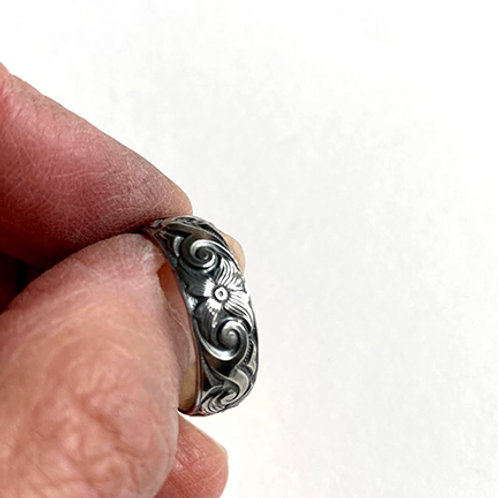 Sterling Silver Engraved Flower Band