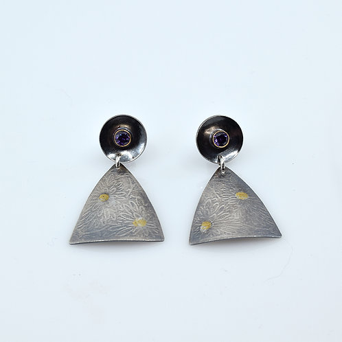 Shield Collection - Sterling Silver and Gold with amethyst CZ