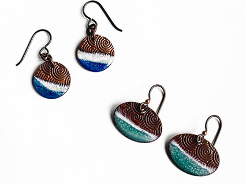 Small Dipped Enamel on textured copper