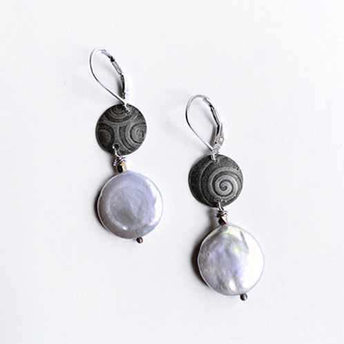 Coin Pearl with textured Sterling Silver Circles