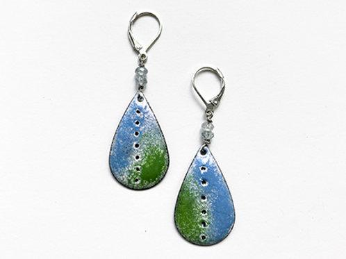 Teardrop Sgraffito dangle earrings