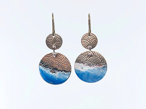 Dipped enamel seaside earrings - Blue