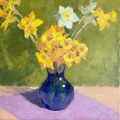 Daffs in Blue Vase