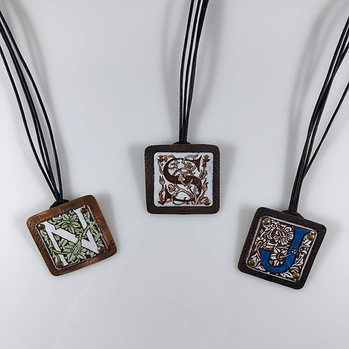 IN STOCK - Enameled Initial Letter Necklace