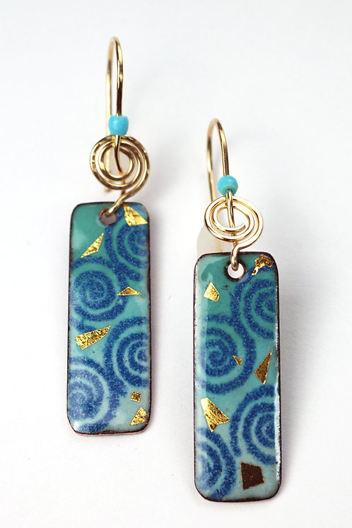 24K Gold flecked rectangular enameled earrings