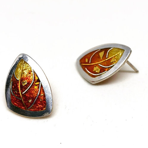 Cloisonne Fall Leaf Post Earrings with 24K gold accents