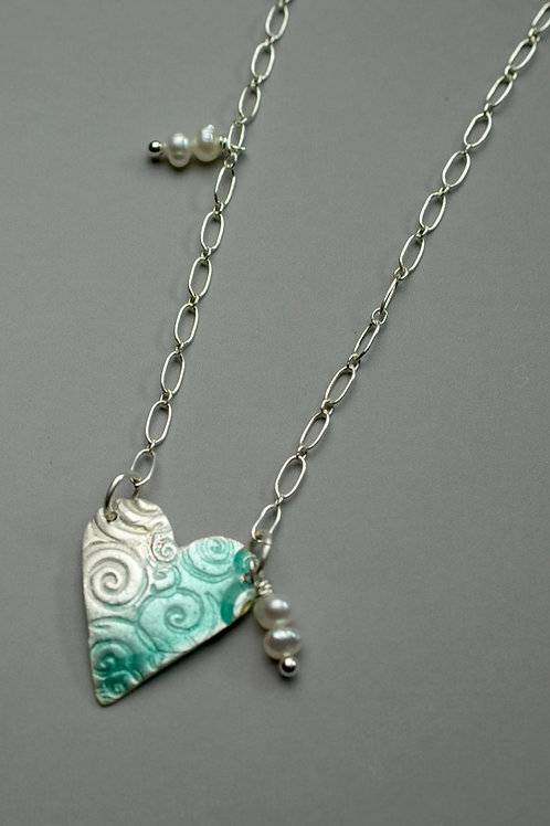 Single Enameled Heart with Swirl Texture