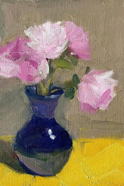 Pink Peonies in Blue Vase