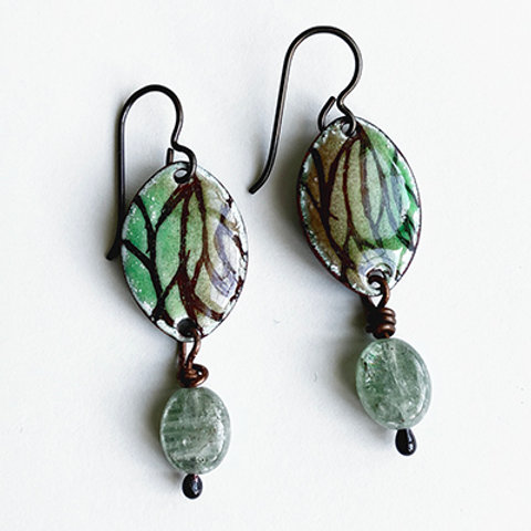 Sgraffito leaf design earrings