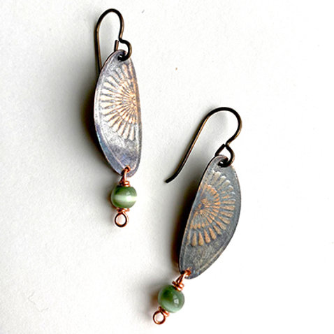 Medium distressed copper earrings