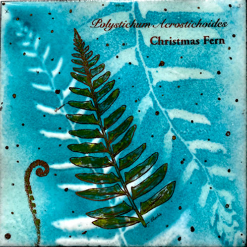 Christmas Fern Enamel Wall Tile