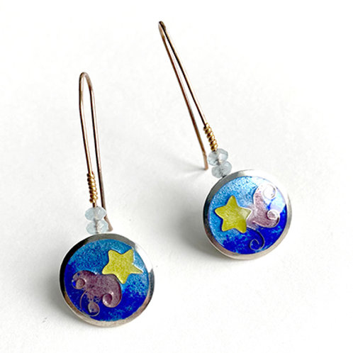 Cloisonne Star and Cloud earrings