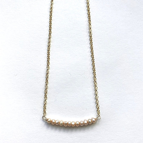 GOLD COLLECTION - Fresh-water pearl bar necklace