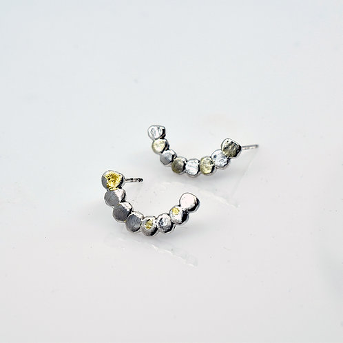 "Sterling Silver and 24K Gold ""comma"" post earrings"