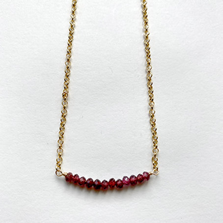 GOLD COLLECTION - Ruby Stones Bar Necklace