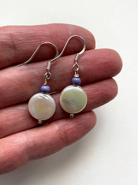 Coin Pearl Earrings with enameled bead