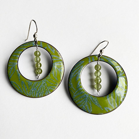 Large enamel hoops with peridot stones