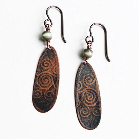 Long distressed copper earrings
