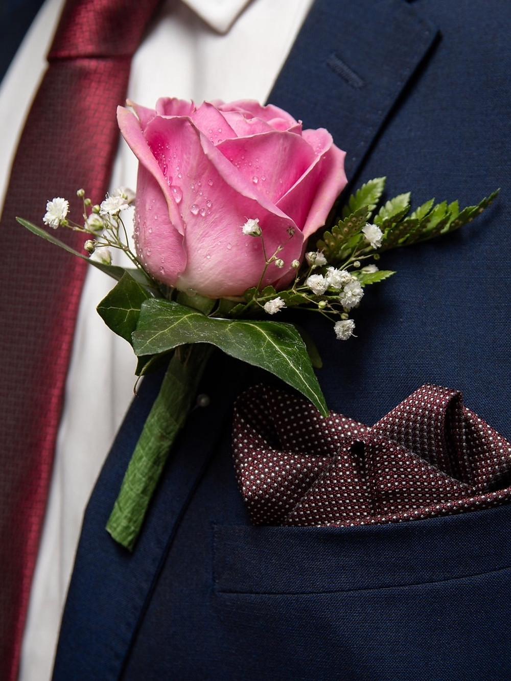 Groom's rose buttonhole