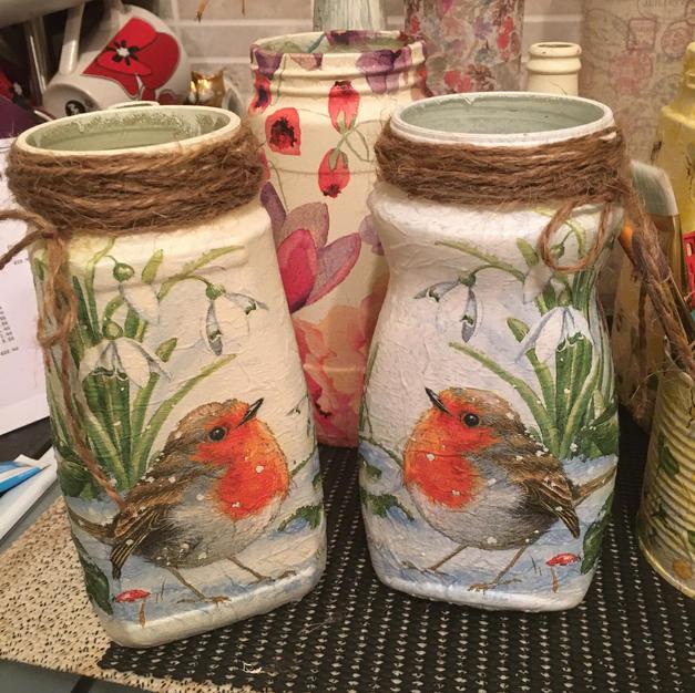 Decoupaged Jars