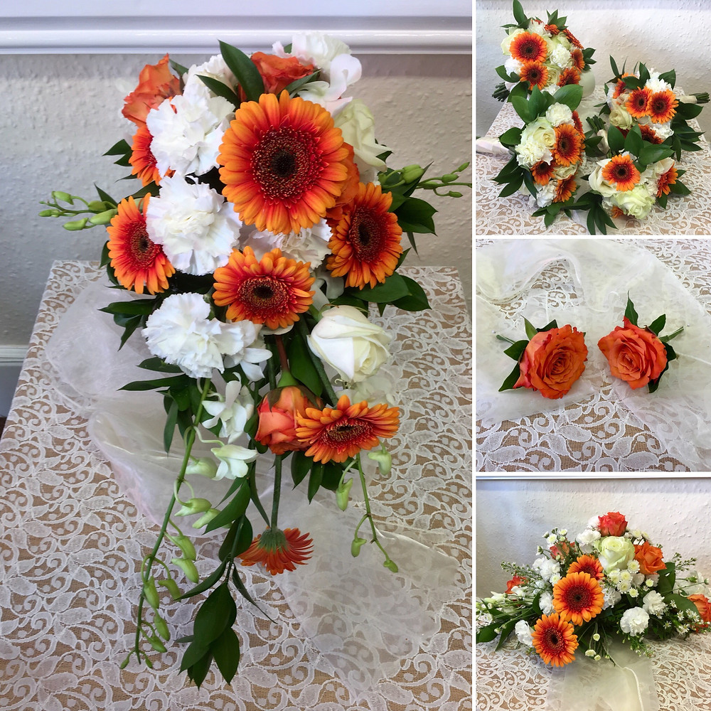 Bride's shower bouquet with gerberas