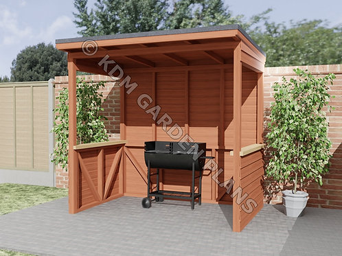 Garden BBQ Barbeque Shelter 1.5mx2.4m (Build Plans Only No Materials)