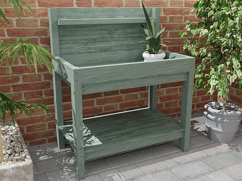 Outdoor Wooden Garden Potting Table Build Plans Do It Yourself or Greenhouse