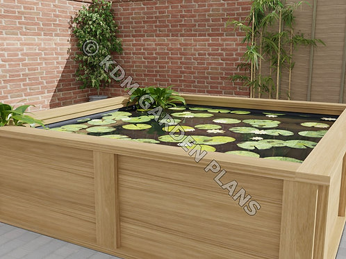 Raised Wooden Garden Pond 2.4mx2.4m (Build Plans Only No Materials)