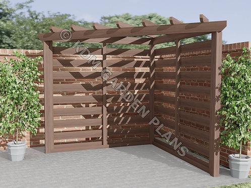 Wooden Garden Corner Pergola 2.4mx2.4m DIY (Build Plans Only No Materials)