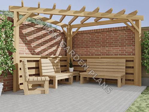 Wooden Garden Corner Pergola 3mx3m DIY (Build Plans Only No Materials)