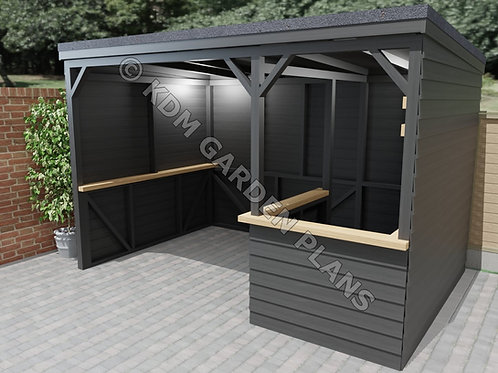 Home Garden Bar with Shelter 2.4mx3.6m Tiki Pub (Build Plans Only No Materials)