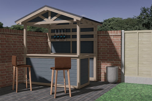 Outdoor Pitched Roof Garden Bar Build Plans Do It Yourself Cocktail Gin Tiki BBQ