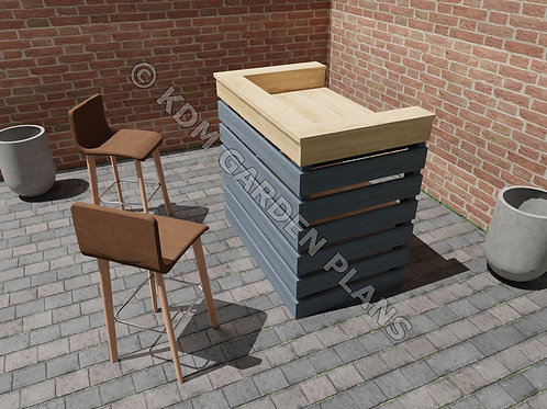 Outdoor Garden Bar Build Plans Do It Yourself Cocktail Gin Patio BBQ Servery
