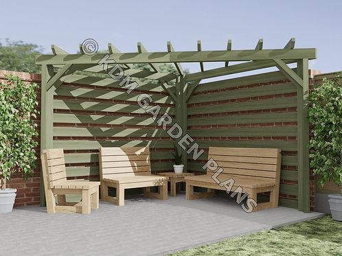 Wooden Garden Corner Pergola 3mx3m Slatted (Build Plans Only No Materials)