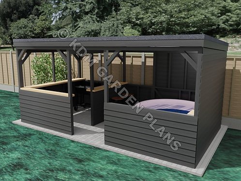 Garden BBQ / Spa Shelter / Home Bar 2.7mx5.25m (Build Plans Only No Materials)