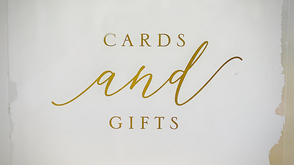 Gold & White Acrylic Gift Sign