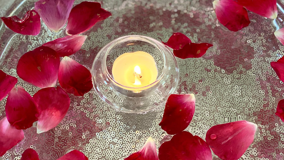 Glass Floating Votives and Bowl