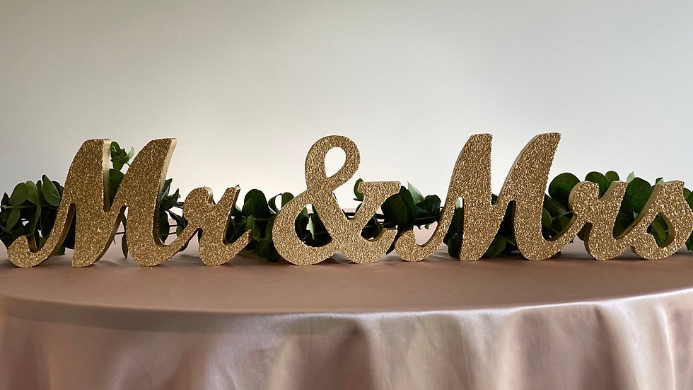 Gold Mr. & Mrs. Letters