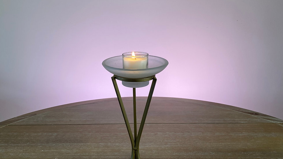 Gold and White Candle Holder