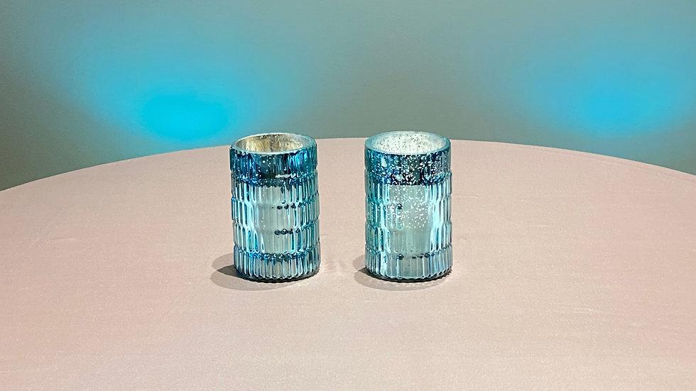 2 Large Blue Mercury Glass Votive's