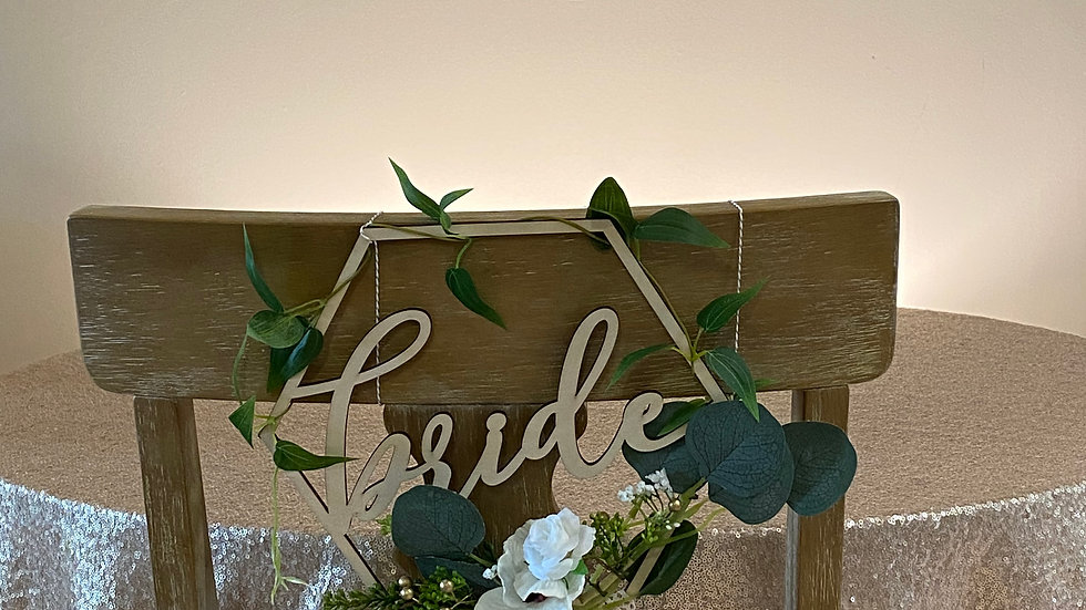Bride and Groom Eucalyptus Seat Sign