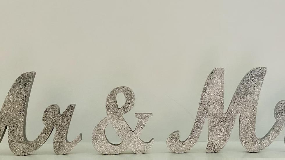 Silver Glitter Mr. & Mrs.
