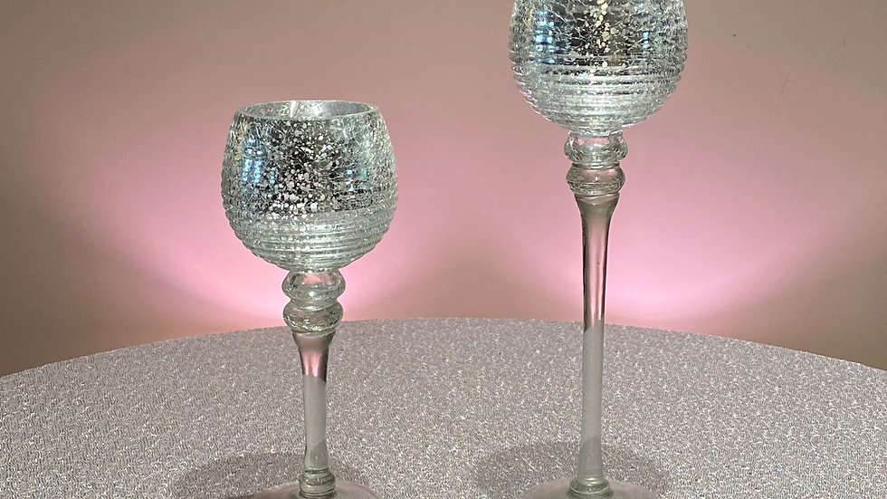 2 Striped Mercury Glass Candle Holders