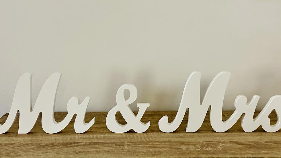 White Mr. & Mrs. Sign