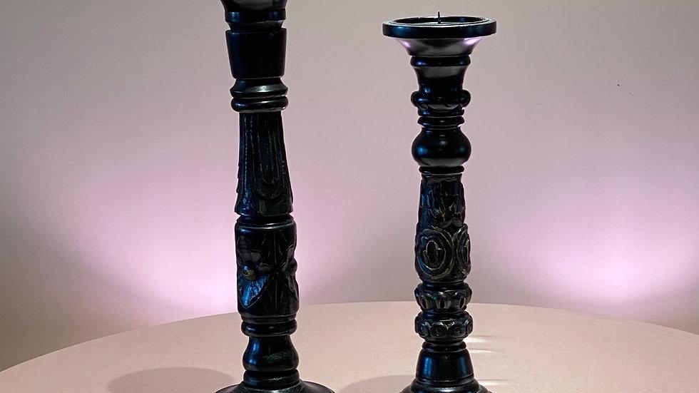 2 Black Candle Sticks