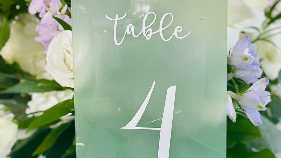 1-8 Sea Glass Table Numbers
