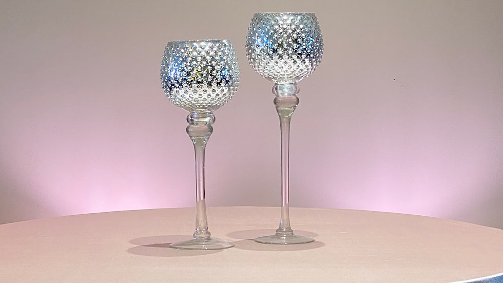 2 Dotted Mercury Glass Candle Holders