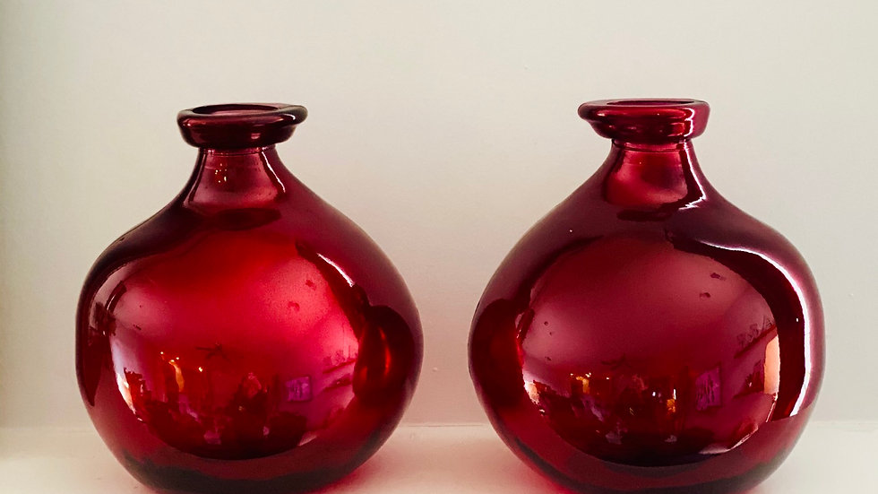 2 Round Red Vases-Small
